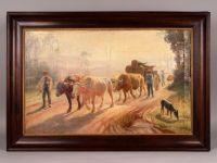 Sylvain GRATEYROLLE 1849 - Paysans menant les boeufs