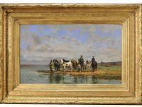 Saint-Marcel Emile NORMAND - Huile sur toile - Les chevaux de labour