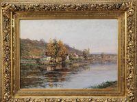 Peter Alfred GROSS - XXème - Huile sur toile - Village au bord de l'eau