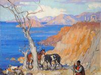 Jeanne THILL - Huile sur toile - Le gardien de chèvres