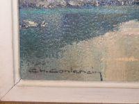 Charles Henry CONTENCIN - Huile sur toile - Lac au milieu de montagnes - XXème