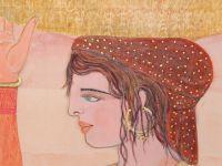 BEN Abdallah - Aquarelle sur papier - Jeune femma aux grenades
