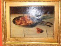 J.E BLANCHE - Huile sur toile - Nature morte aux crevettes - XIXème - XXème