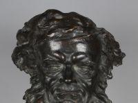 Jules JOUANT - Bronze à patine brun - Tête de BEETHOVEN - XIXème - XXème