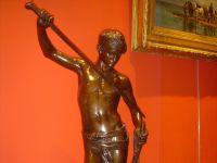 Antonin MERCIE - Bronze patine brune David VAINQUEUR - XIXème - XXème