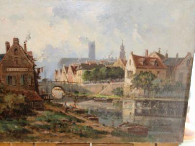 Gustave MASCART - Huile sur toile - Bord de rive à GAND - 1834 - 1914