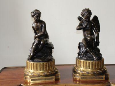 FALCONET Etienne Maurice - La Nymphe et Cupidon bronze à patine - XVIIIème