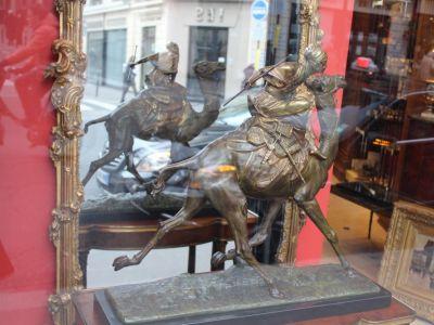 Edouard DROUOT - Le Mehariste à la lance bronze patine - XIXème - XXème